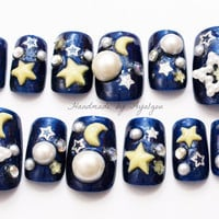 3D nails, Japanese nail art, stars, half moon, navy, sky, night, lolita, kawaii, decoden