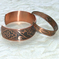 Pair Vintage Bell Solid Copper Bangle Bracelets  by HeirloomAngel