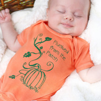 "Halloween 0 - 6 months Orange Organic Baby Onesuit with Pumpkin, Vines and ""Plucked from the Patch"" Hand Printed and Dyed October Fashion"