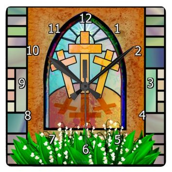 Easter Window Square Clock
