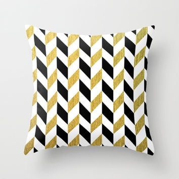 Black and Gold Throw Pillow by Pati Designs