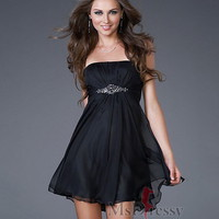 Empire Strapless Short/Mini Chiffon Best-Selling Prom Dress with Beading at Msdressy