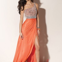 A-line One Shoulder Floor-length Chiffon Best-Selling Prom Dress with Beading at Msdressy