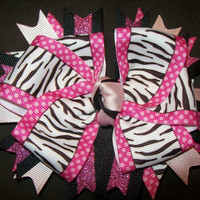 Hot Pink &amp; Zebra with glitter ribbon - Double layer bow