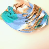 Felted scarf - Cobweb wool Circle scarf - necklace / blue mint green beige - autumn fall fashion - infinity scarf - autumn scarf