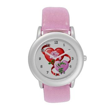 Hearts and Roses Glitter with Pink Women's Watch