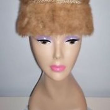 Lovely Vintage Women's Fur Dress Hat Leaf Print Lining Pleated Top Size 22 L@@K!