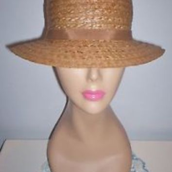 Lovely Vintage Women's Taupe-Colored Straw-Like Dress Hat Grosgrain Band Sz 22