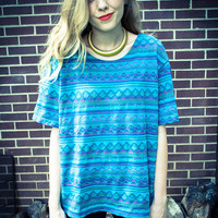Vintage Blue Teal Purple Tribal Oversized Blouse