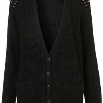 Knitted Stud Rib Cardi - Knitwear  - Apparel