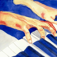 Piano Hands Original Watercolor Painting 8x10