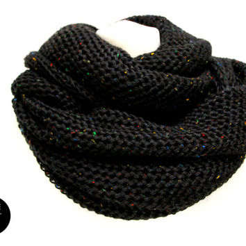 infinity scarf black galaxy colorful dots loop snood cowl theknitkid
