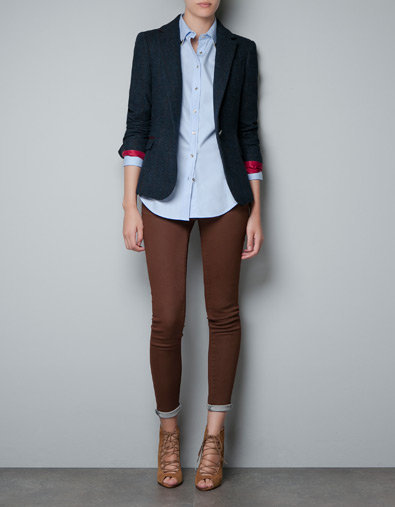 CHECKED WOOL BLAZER WITH ELBOW PATCHES - Woman - New this week - ZARA United States