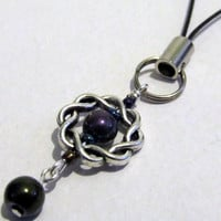 Black Rainbow w/ Silver Tone Celtic Braid Phone / Purse Charm