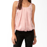 Pleated Sleeveless Blouson Top