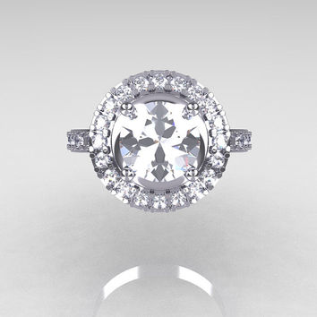 Classic 18K White Gold 1.5 Carat Cubic Zirconia Diamond Solitaire Wedding Ring R115-18KWGDCZ