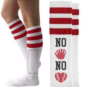 No Glove No Love Baseball Mom or Baseball Girlfriend American Apparel Socks