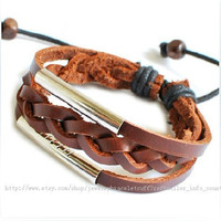 punk rock Bracelet women bracelet bangle bracelet Cuff made of real Leather  metal bracelet SH-0721