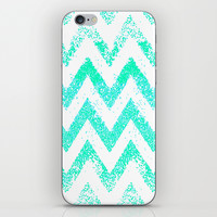 mint chevron iPhone & iPod Skin by Marianna Tankelevich