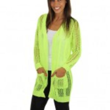 Neon Lime Knit Cardigan