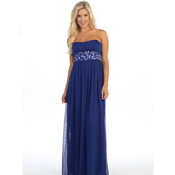 Royal Blue Strapless Embellished Chiffon Gown Prom 2015