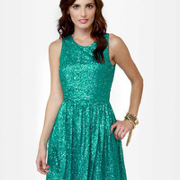 Cute Teal Dress - Sequin Dress - Sleeveless Dress - $58.00