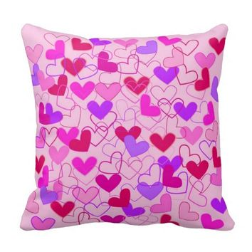 Cute Girly Pink Purple and Red Hearts Pattern