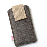 Cell phone case for your Iphone or smartphone - natural look - grey with canvas strap
