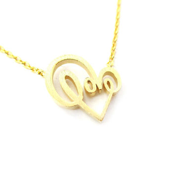Cursive Love Typography Forming A Heart Shaped Charm Necklace in Gold | DOTOLY - Heart Love Cursive Charm Necklace in Gold