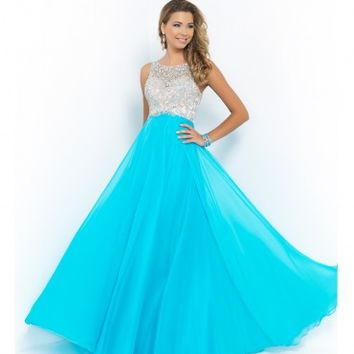 Blush Prom Pool Blue Beaded Bodice Open Back Chiffon Gown Prom 2015