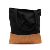 Black Brown Tote Bag, Vegan Leather Tote, Urban Shoulder Bag, Black Tote Bag, Fabric Leather Bag, Casual Canvas Bag, Origami Tote Bag