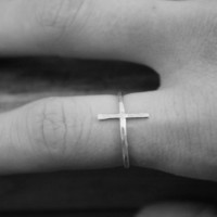 Sideways Cross Ring Hammered Argentium Silver Artisan Ring