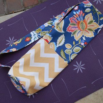 Yoga Mat Bag in Blue Floral and Yellow Chevron Prints