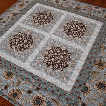 Quilted Square Table Topper in Blue and Brown Cottage Shabby Chic