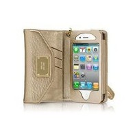 New High Quality Designer Style Gold Wallet Leather purse Case For iPhone 4 4S 4 S With Card Holder