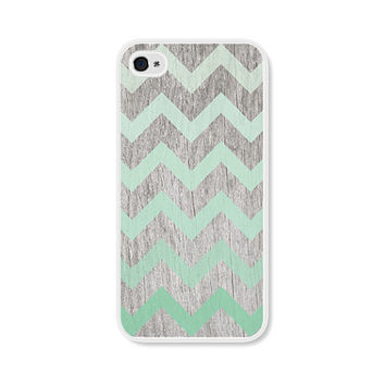 Mint Green Ombre Chevron iPhone 5 Case - Plastic iPhone 5s Case -  Wood iPhone 5 Skin - Brown Woodgrain Cell Phone Case