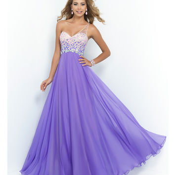 Preorder - Blush Prom Violet Beaded Ombre One Shoulder Open Back Chiffon Gown Prom 2015