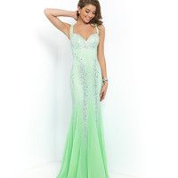 Blush Prom Honeydew Green V-neck Sweetheart Beaded Chiffon Gown Prom 2015