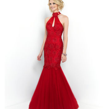 Blush Prom Carmine Red High Neck Open Back Embroidered & Beaded Mermaid Gown Prom 2015