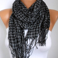 Plaid Women Shawl Scarf -  Cowl