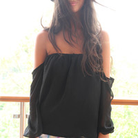 SABO SKIRT  Off The Shoulder Top - Black - $52.00