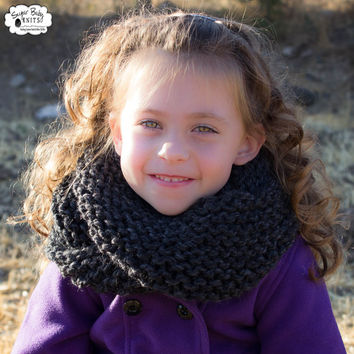 Charcoal Grey Chunky Knit Cowl Infinity Scarf  - Child, Adult, Women, Girls, Custom Order Color, Winter, Scarf, Cowl, Infinity Scarf