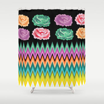 CHEVRON ROSES Shower Curtain by Heaven7