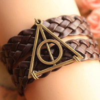 Harry potter bracelet,retro bronze Deathly Hallows,brown braid leather bracelet---B155