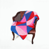 Retro Afghan Crochet Blanket Quilt - Triangle Pink Blue Red Granny Square Full Large Mid Century Modern