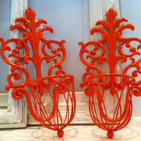Upcycled Painted Vintage Wall Sconces Hollywood Regency in Tangerine Hanging Planter Or Candleholders