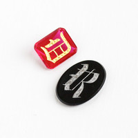 Antique Monogrammed Gemstones - Oval Onyx Letter R or Created Ruby Letter D Jewelry Making Supply Initial Stones