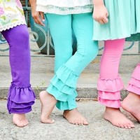 The Original Triple Ruffle Ankle Length Leggings- Made in the USA