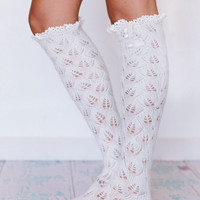 Sugar Sugar Ivory Lacy Knitted Boot Socks with Crochet Lace Trim  (BSK1-12) WEDS FACEBOOK Deal