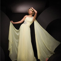 Sheath/Column One Shoulder Floor-length Chiffon Popular Prom Dress with Beadi at Msdressy
